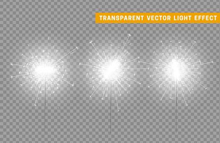Festive Christmas sparkler decoration lighting element. Sparkler vector firework. Magic light isolated effect. For the background of the holiday and birthday Иллюстрация
