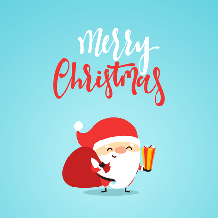 postcard box: Santa Claus with gifts. Cartoon character for Christmas cards and banners. Smiling Santa claus funny and cute in flat style