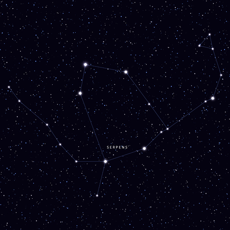 galaxies: Sky Map with the name of the stars and constellations. Astronomical symbol constellation Serpens