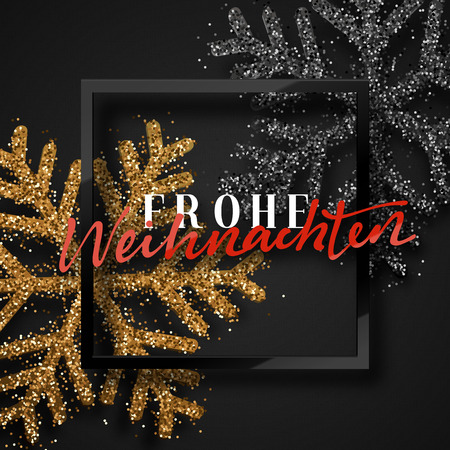 merry christmas german inscription frohe weihnachten christmas background with beautiful bright snowflakes