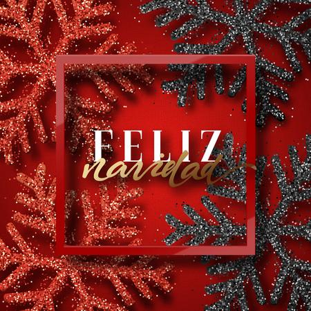 Merry Christmas. Spanish inscription. Feliz Navidad. Christmas background red, beautiful bright snowflakes realistic shine glitter. Framed calligraphy handmade. Xmas holidays poster, greeting card.