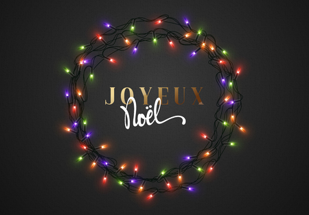 joyeux: Merry Christmas. French inscription. Joyeux Noel. Christmas background black color with realistic garlands, Xmas Holiday and Happy New Year