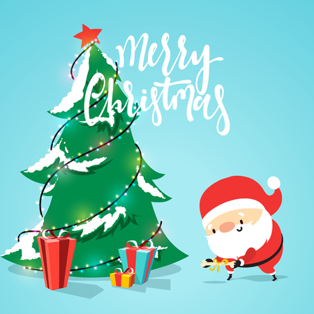 Santa Claus cartoon character, puts presents under the Christmas tree. Smiling Santa Claus funny and cute in flat style. Christmas cards and banners. Vector Illustration