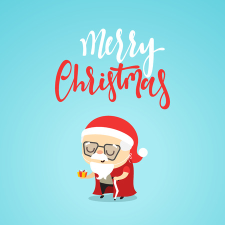 Cartoon character christmas cute Grandpa with a gift in hand.