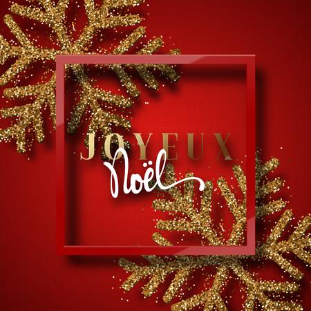 joyeux: Merry Christmas. French inscription. Joyeux Noel. Christmas background red, beautiful bright snowflakes realistic shine glitter. Framed calligraphy handmade. Xmas holidays poster, greeting card.