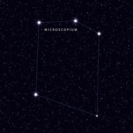 costellazioni: Sky Map con il nome delle stelle e costellazioni. simbolo astronomico costellazione Microscopium