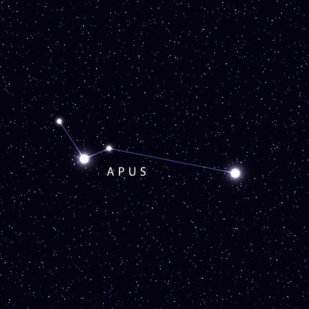 costellazioni: Sky Map with the name of the stars and constellations. Astronomical symbol constellation Apus Archivio Fotografico