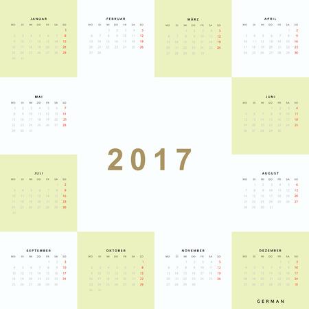 Calendar 2017 in German. Week starts from monday.