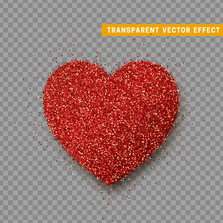 Valentines Day heart isolated, transparent vector effect background. Festive decorations bright glitter placer. Holiday love decor illustration. Beautiful design element