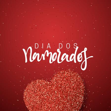 Fijne Valentijnsdag. Franse inscriptie handgemaakt. Dia dos Namorados. De kaart van de vakantiegroet op rode heldere hartachtergrond. Ontwerp van brochures, posters, banners, web. Wereldfestival van liefde Stock Illustratie