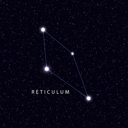 constellations: Sky Map with the name of the stars and constellations. Astronomical symbol constellation Reticulum.