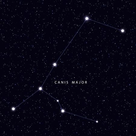 별과 별자리 이름이 표시된 스카이지도. 천문학 기호 별자리 큰 개자리입니다.