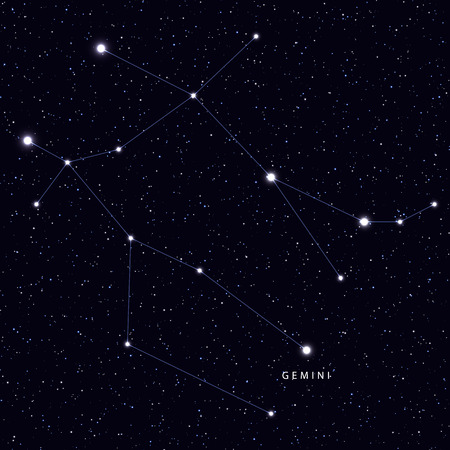 별과 별자리 이름이 표시된 스카이지도. 천문 기호 별자리 제미.