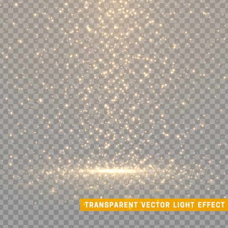 Glowing glitter light effects isolated realistic. Christmas decoration design element. Sunlight lens flare. Shining elements and stars. Golden texture. Transparent vector particles background.