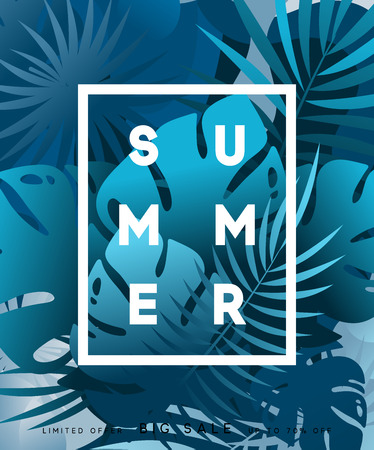 beach party: Summer banner tropical background. Summer season, design poster with leaves Illustration