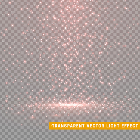 Glowing glitter light effects isolated realistic. Christmas decoration design element. Sunlight lens flare. Shining elements and stars. Red and pink texture. Transparent vector particles background. Illustration