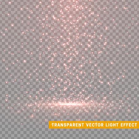 Gloeiende glitterlicht effecten geïsoleerde realistisch. Kerst decoratie ontwerp element. Zonlicht lens flare. Glanzende elementen en sterren. Rode en roze textuur. Transparante vector deeltjes achtergrond.