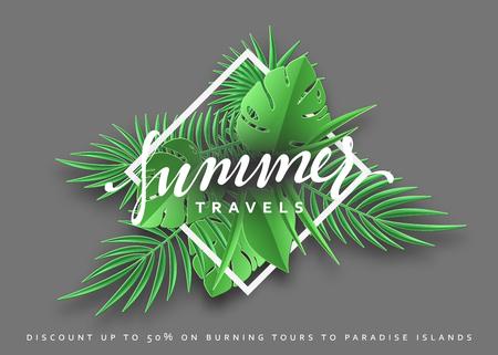 Viajes verano banner tropical de fondo. Ilustración de vector de temporada de verano