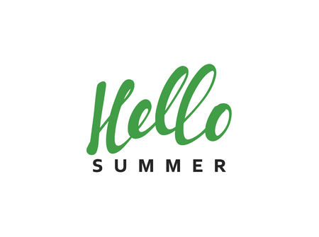 beach party: Lettering Hello Summer calligraphy hand drawn. Isolated inscription on white background vector illustration.