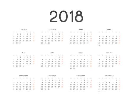 Calendario per il 2018 Germania semplice su sfondo bianco illustrazione vettoriale. Archivio Fotografico - 81995597