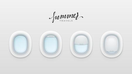 夏は、デザインのバナーを移動します。飛行機の現実的な照明。白い窓航空機ベクトル図  イラスト・ベクター素材