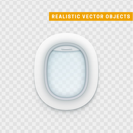 Realistic portholes of airplane. White window aircraft vector illustration Illustration