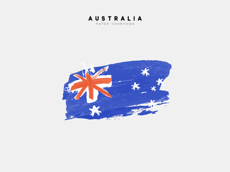 processed: Flag of Australia. Processed with blue watercolor ink. Illustration