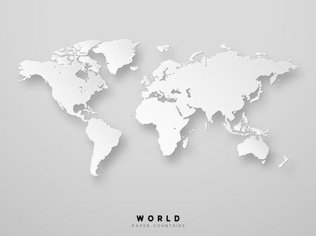 World map detailed design in white color vector illustration. 3D paper.