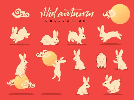 lapin: Ensemble d'illustration de lapin heureux. Festival de la mi-automne. Collection lapin drôle. Flat bunny c moon