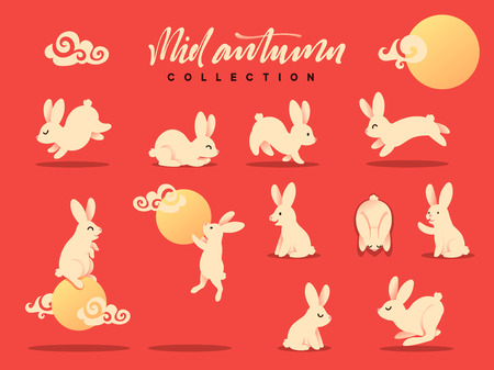 Set of happy rabbit illustration. Mid-Autumn festival. Collection funny bunny. Flat bunny c moon Ilustração