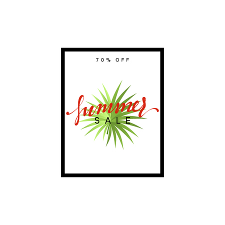magazine design: Summer design frame layout. Poster sale with palm branches. Banner with green tropical leaves. Illustration