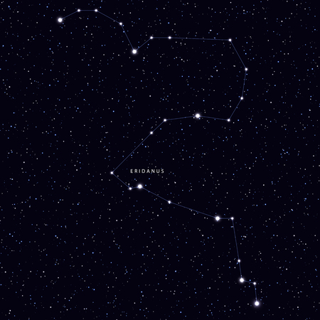 Sky Map with the name of the stars and constellations. Astronomical symbol constellation Eridanus