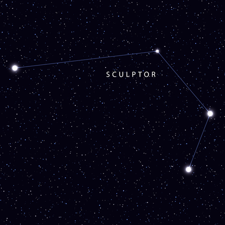 Sky Map with the name of the stars and constellations. Astronomical symbol constellation Sculptor Illustration