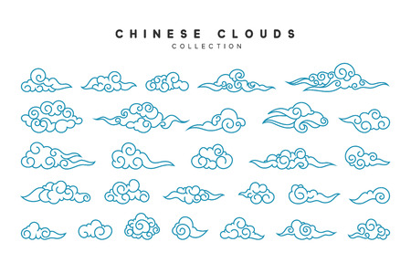 middle: Collection of blue clouds in Chinese style. Illustration