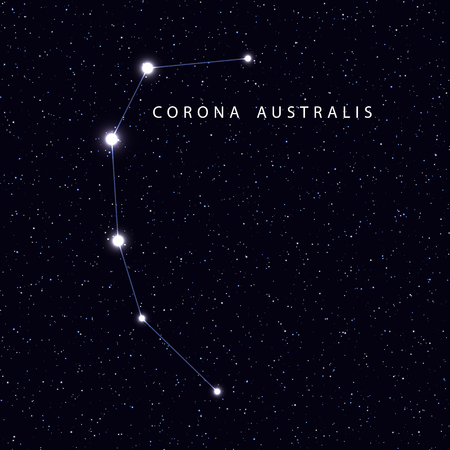 Sky Map with the name of the stars and constellations. Astronomical symbol constellation Corona australis Stock Photo