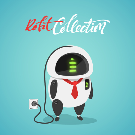 funny robot: Character cute in flat style. Funny cartoon robot concept of power from a stationary outlet. Stock Photo