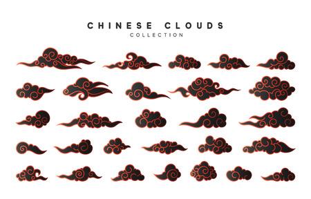 Collectie kleur zwarte wolken in Chinese stijl.
