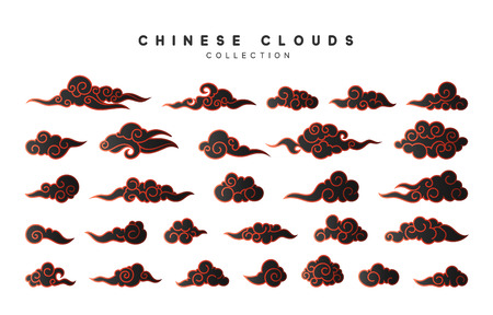 Collection color black clouds in Chinese style.