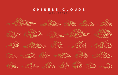 Collection of red and gold clouds in Chinese style.