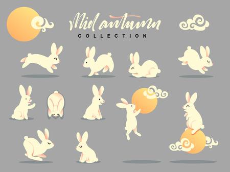 Set van gelukkig konijn illustratie. Medio herfst festival. Verzameling grappig konijntje. Platte konijntje c maan Stock Illustratie