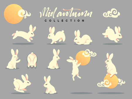 Set of happy rabbit illustration. Mid-Autumn festival. Collection funny bunny. Flat bunny c moon Illustration