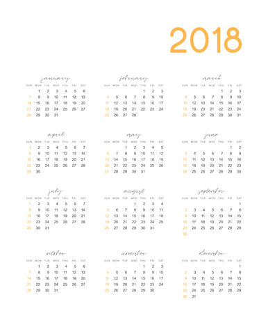 event planner: Calendar for 2018