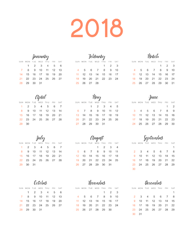 event planner: Calendar for 2018 English Illustration