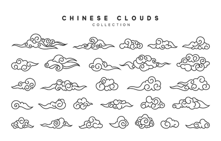 Collection of gray clouds 向量圖像