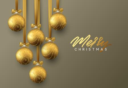 クリスマスのグリーティング カード、暗い背景にクリスマス ゴールデン ボールのデザイン。