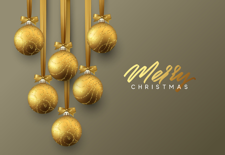 Christmas greeting card, design of xmas golden balls on dark background. Illustration