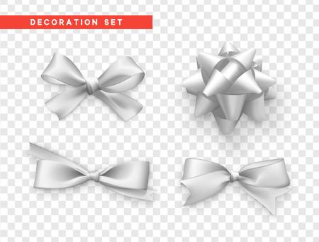 Buigt wit realistisch ontwerp. Geïsoleerde geschenk strikken met linten.
