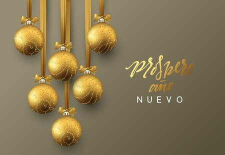 Spanish Prospero ano Nuevo. Feliz Navidad. Christmas greeting card, design of xmas golden balls on dark background Иллюстрация