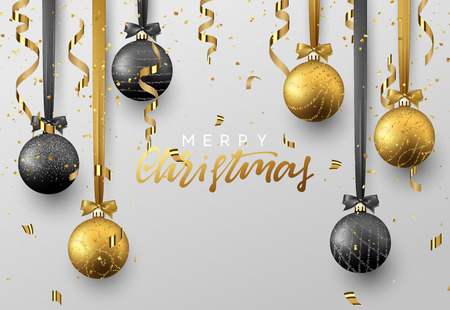 Christmas background with shining gold and black ball, serpentine and confetti. Lettering Merry Christmas card vector Illustration.