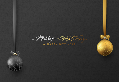 Christmas background with shining gold and black ball. Lettering Merry Christmas card vector Illustration.